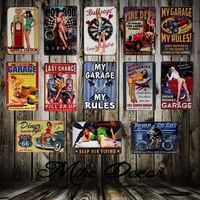 [ Mike86 ] Garage Pin up Lady Route66 Tin sign Art wall decoration House Cafe Bar Vintage Metal craft 50 pcs lot