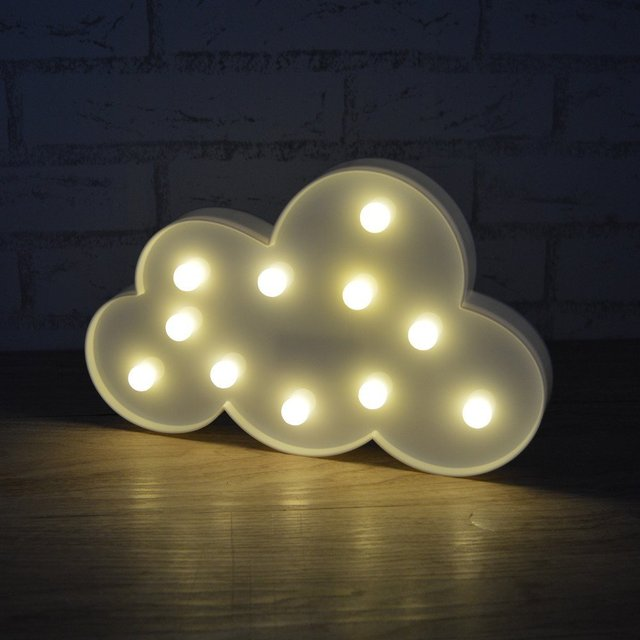 Cute Marquee Cloud Sign Lamp with 11LED Lights Battery operated White Cloud Nightlight For Indoor Home Christmas Decoration