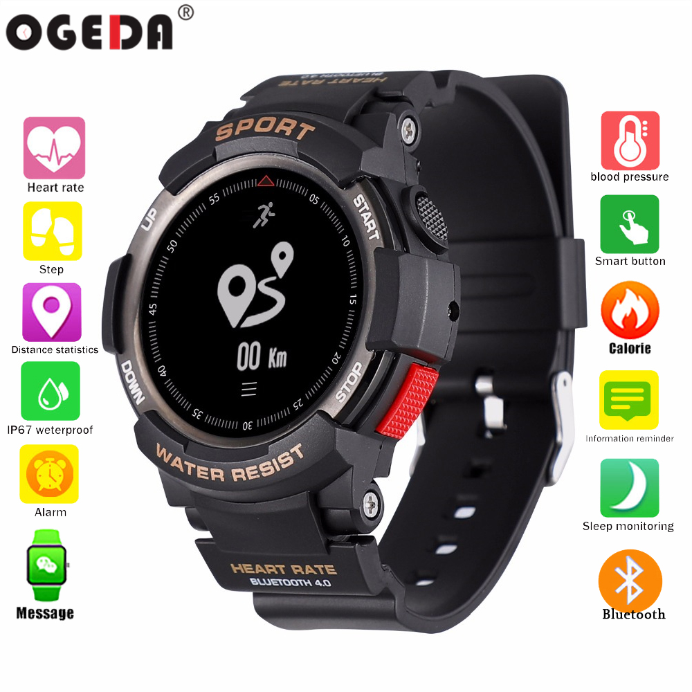 Esportes dos homens de Moda smart watch F6 OGEDA Bluetooth monitoramento da frequência cardíaca de calorias de Fitness Rastreador IP68 À Prova D' Água smart watch