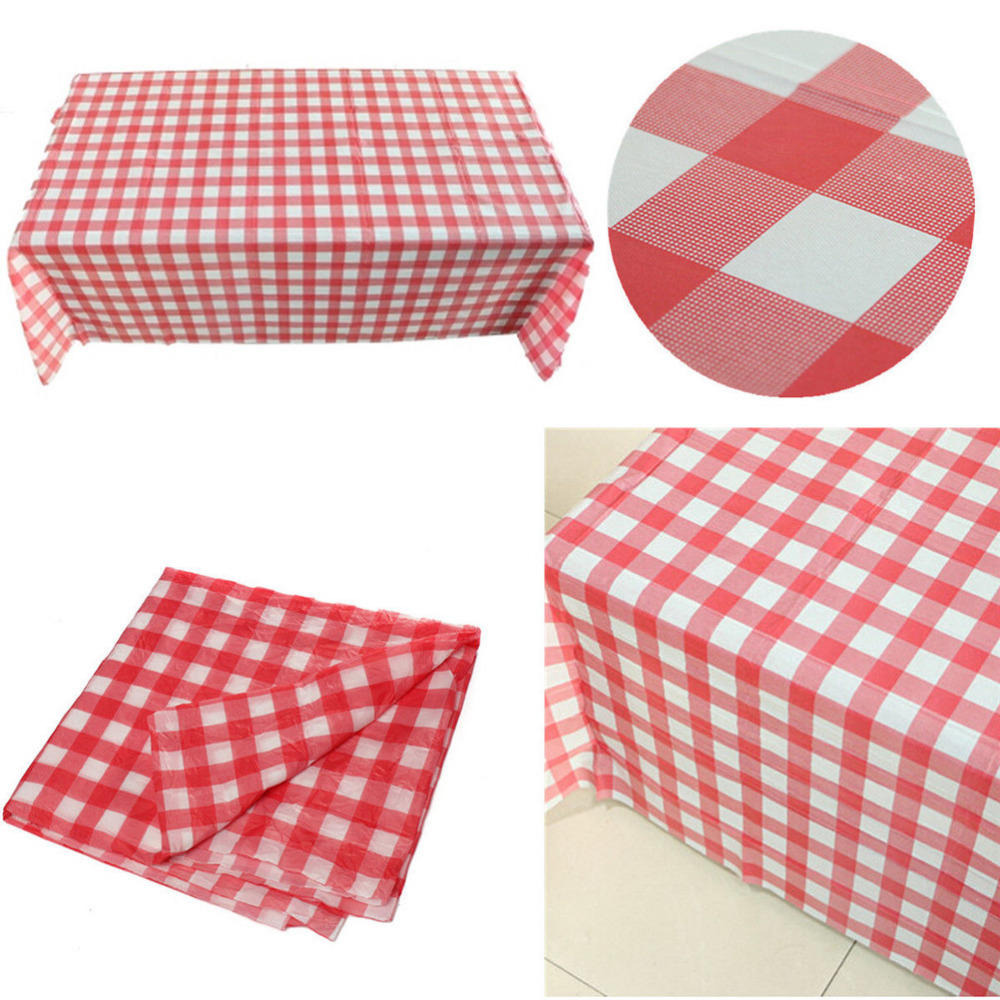 New Pink Gingham Plastic Tablecloth