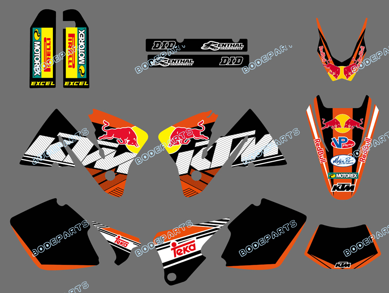 0406 Black bull NEW TEAM GRAPHICS WITH MATCHING BACKGROUNDS FIT FOR KTM MXC EXC 250 300 350 400 520 2001-2002 - Yongkang Tongshida Industrial & Trade Co., Ltd. store