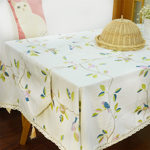 9 Size Pastoral Linen Table Cloth Tablecloth Table Cover Leaf Printed Black  Toalha De Mesa Manteles