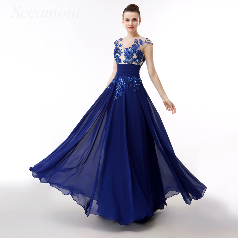 Royal Blue Sexy Chiffon Evening Dresses Open Back Embroidery Lace up Stock Fast Shipping Red Carpet Celebrity Prom Gowns