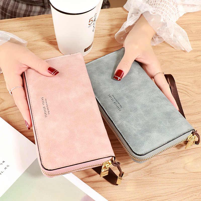 Cartera para mujer, monedero largo de piel de PU, Negro/rosa/azul/verde/gris, billetera de diseñador de marca famosa, cartera para mujer 2020 de calidad