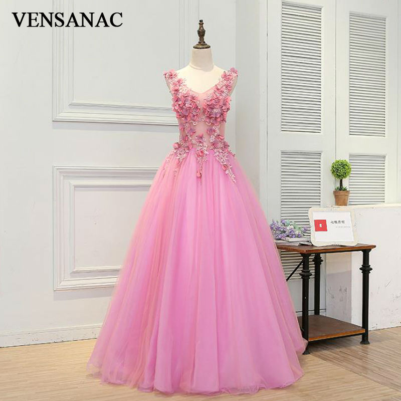 VENSANAC New 2017 Lace Appliques V Neck Long Evening
