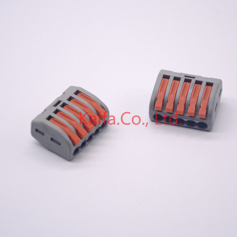 (5 pcs/lot)   222-415 (PCT215)Universal Compact Wire Wiring Connector 5 pin Conductor Terminal Block With Lever 0.08-2.5mm2 10 pieces lot 222 413 universal compact wire wiring connector 3 pin conductor terminal block with lever awg 28 12