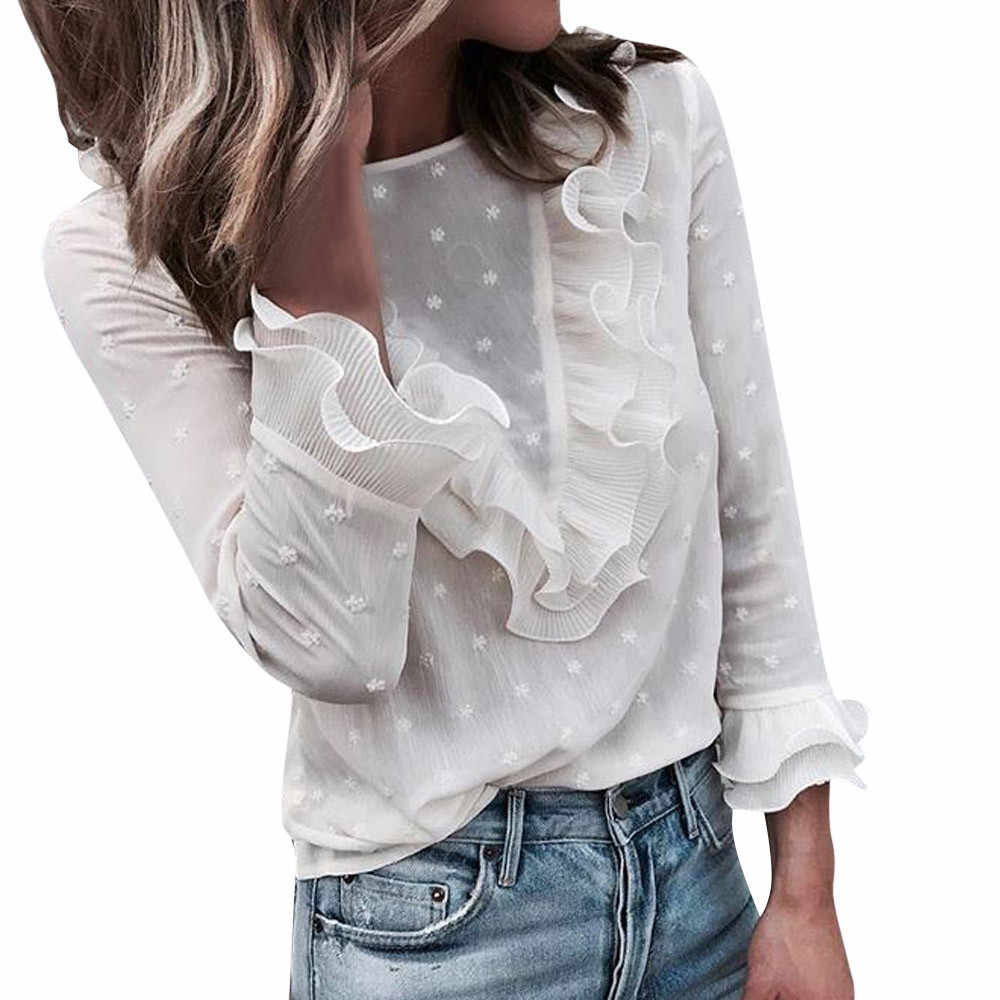 cefe13f0eb7 ... Женские топы и блузки с длинным рукавом Дамы Повседневное половина  разрез женские летние футболки Twist Front ...