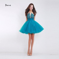 2015 New Short A Line Halter Backless Tulle Appliques Formal Party Gown Short Cocktail Dress Women
