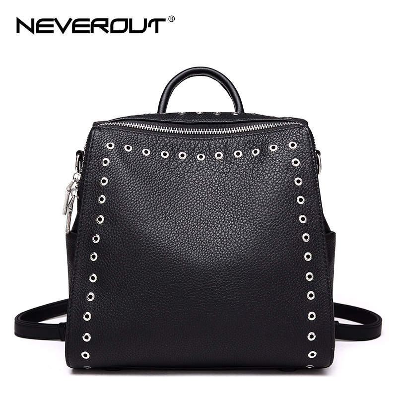 NeverOut Real Genuine Leather Rivet Bag for Women Solid Travel Backpacks Female Zipper Bags Brand Design Shoulder Sac & Backpack brand bag backpack female genuine leather travel bag women shoulder daypacks hgih quality casual school bags for girl backpacks