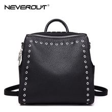NeverOut Real Genuine Leather Rivet Bag for Women Solid Travel Backpacks Female Zipper Bags Brand Design Shoulder Sac & Backpack