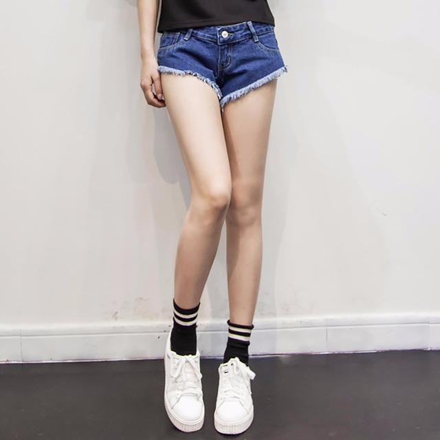 Tengo marca 2017 primavera verão mulheres shorts de algodão sexy hot Tiros de Bordas Desgastadas Rasgado Denim Jeans Curto Mulher Ocasional Praia estilo
