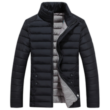 2016 Newest Men s Solid Parkas Winter Jacket Men Stand Collar Fashion Quality Padded For Men