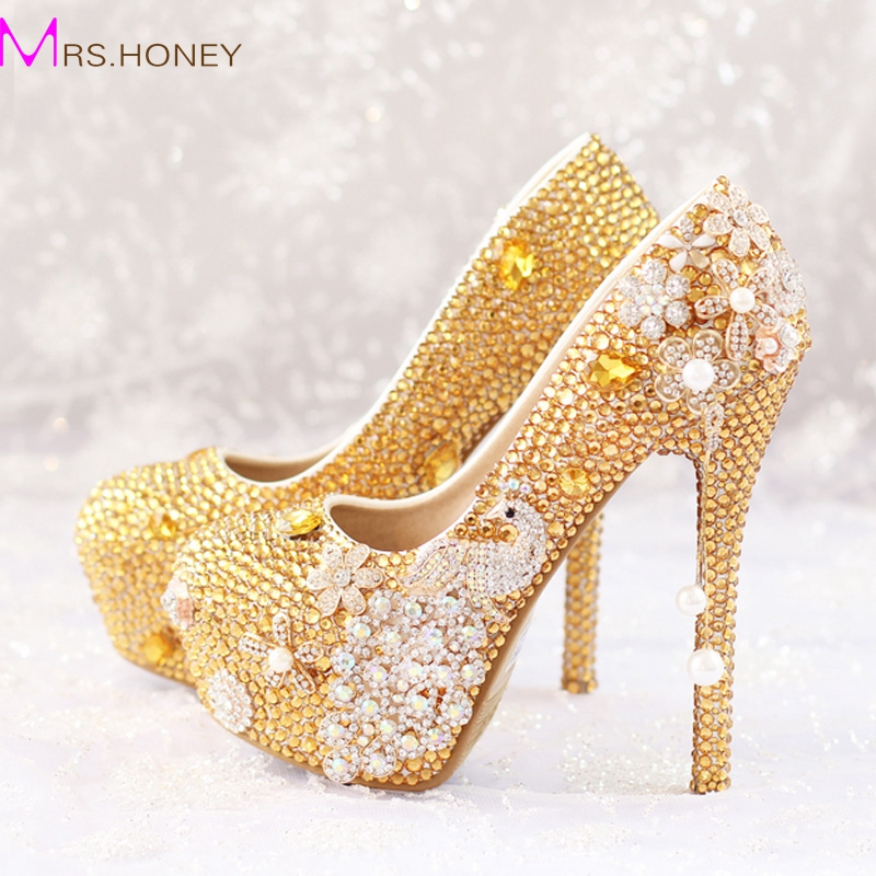 glitter gold rhinestone wedding shoes 5 inches high heel