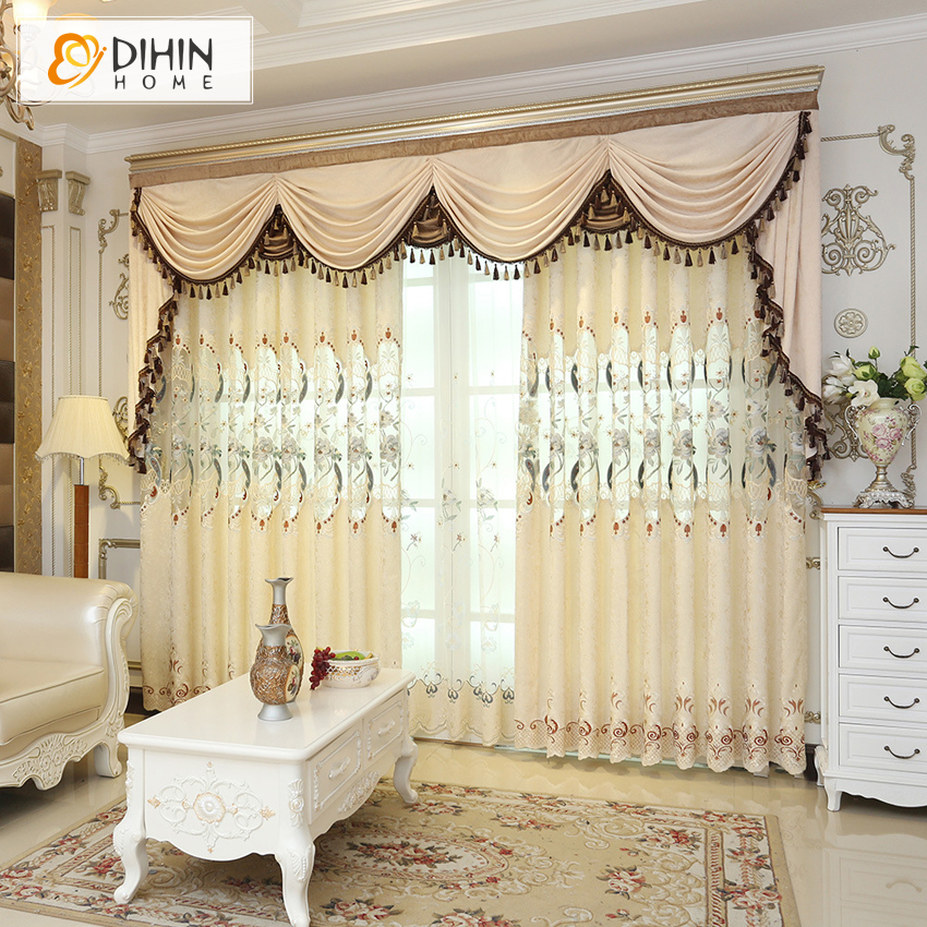 High Window Curtains: New Embroidered Blackout Curtains Valance Custom Made