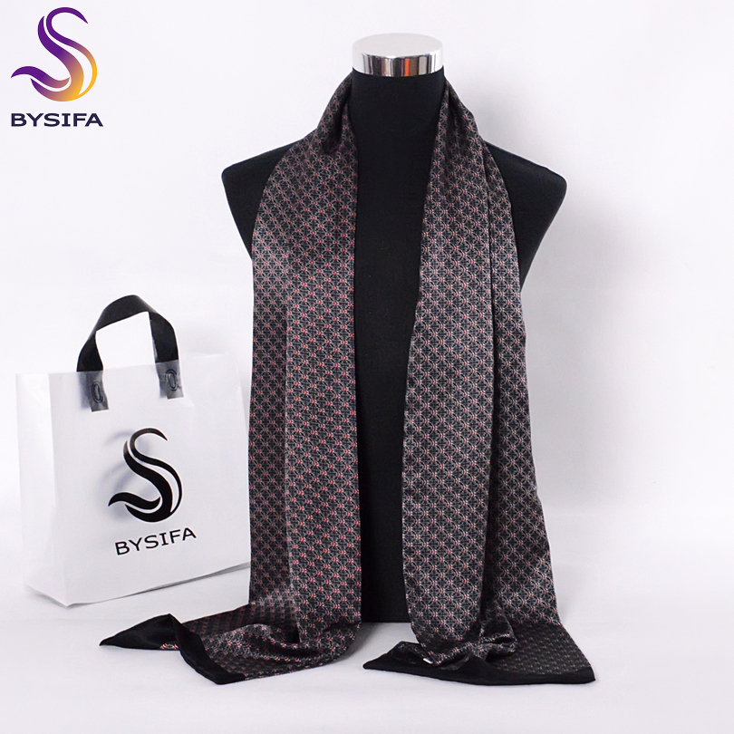 [BYSIFA] Black Red Long Scarves For Men Fashion Accessories Male Pure Silk Scarf Cravat Winter Flowers Pattern Scarf 160*26cm