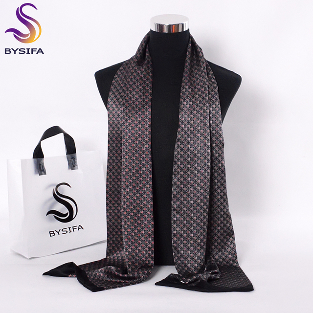 [BYSIFA] Black Red Long Scarves For Men Fashion Accessories Male Pure Silk Scarf Cravat Winter Flowers Pattern Scarf 190*26cm