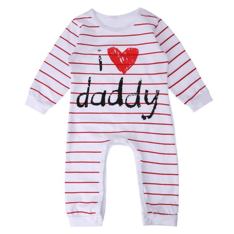 Модная одежда для детей, Детская мода в целом я люблю папу мамы новорожденного сердце в полоску с длинным рукавом ползунки Рождество Обувь д...