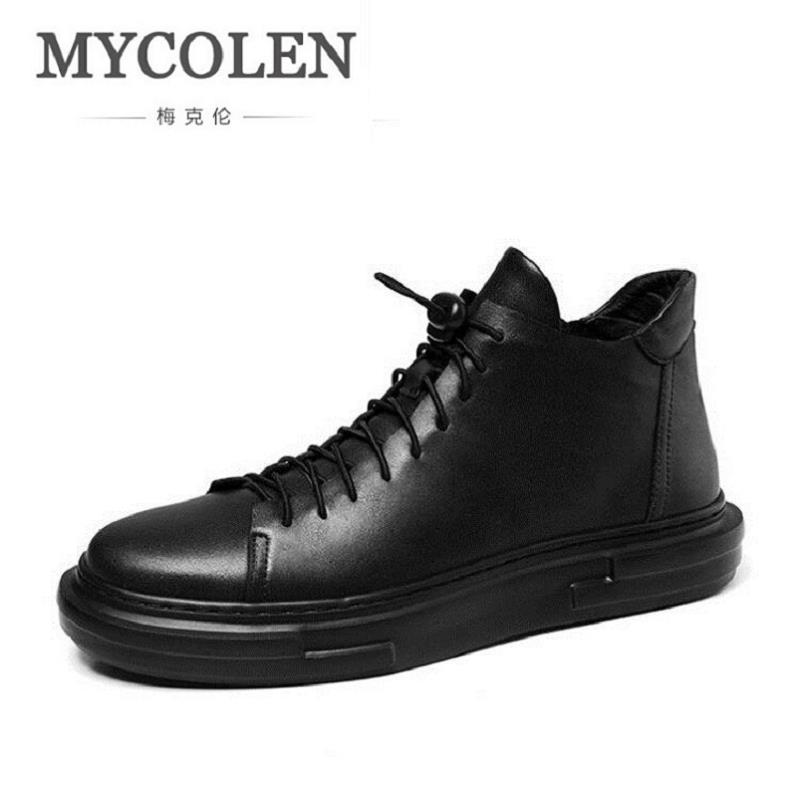MYCOLEN New 2017 Men Shoes Casual Breathable Fashion Leather Shoes High Top Comfortable Winter Trainers Shoes Schoenen Mannen 2017 fashion red black white men new fashion casual flat sneaker shoes leather breathable men lightweight comfortable ee 20