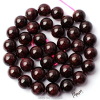 Free Shipping 10mm Smooth Natural Wine Red Color Garnet Stone Round Shape DIY Gems Loose Beads