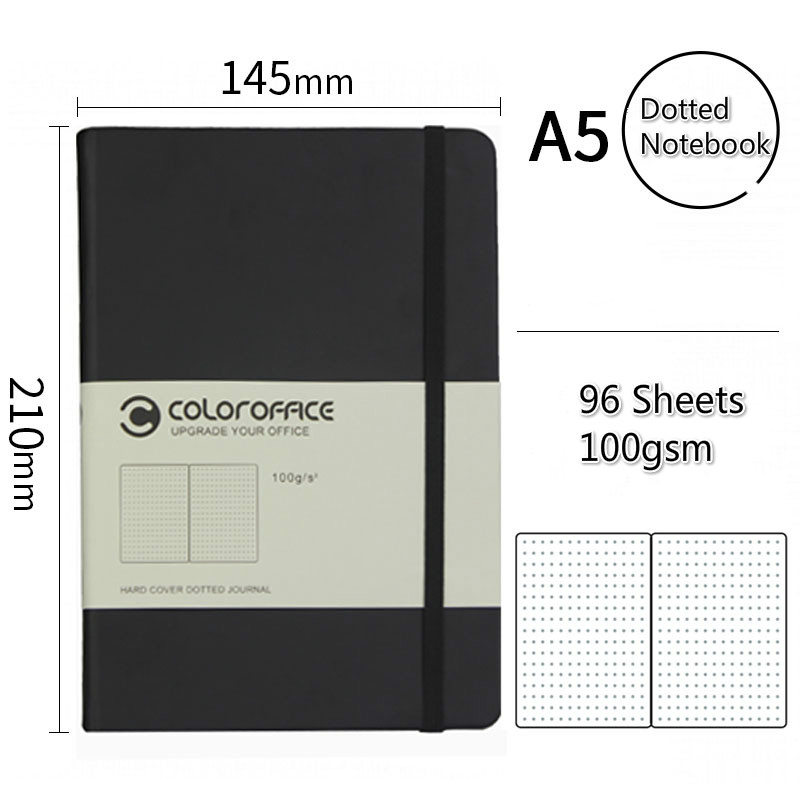 A5 Hardcover Dotted Notebook Bandage Dotted Personal Diary Notebook School Office Stationery Black Bullet Journal Dotted Paper