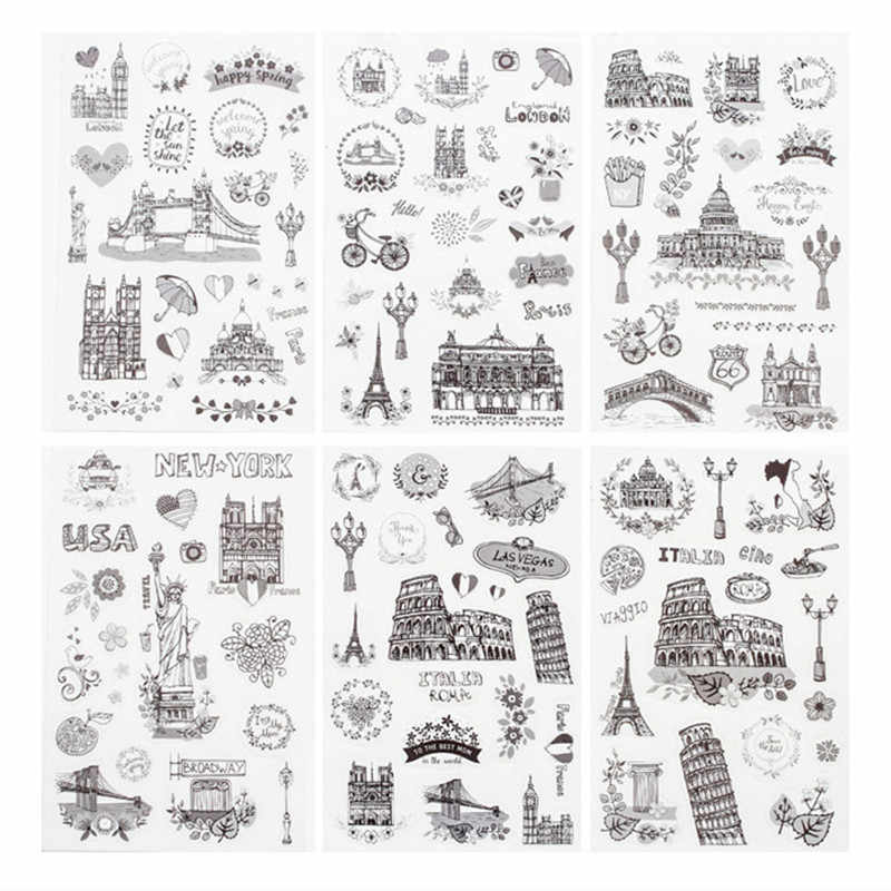 6pcs/pack Travel All Around The World Decorative Washi Stickers Scrapbooking Stick Label Diary Stationery Album Stickers