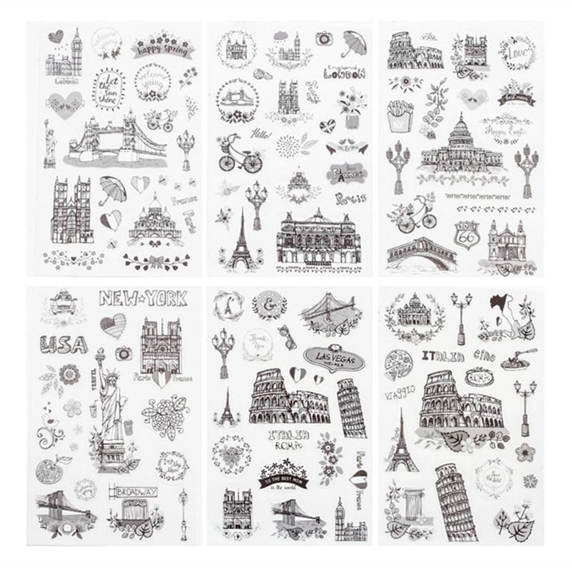 6 шт./упак. путешествовать по всему миру декоративные наклейки из бумаги васи Скрапбукинг ярлыком канцелярские наклейки для дневника, альбо...