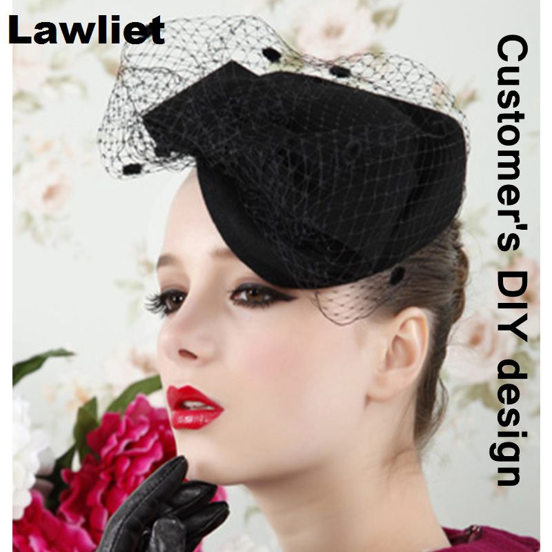 7efd892361608 Womens Dress Fascinator Wool Felt Pillbox Hat Base Party Wedding Bow Veil  Craft Head Pieces DIY Hair Accessories A129 -in Berets from Apparel  Accessories on ...