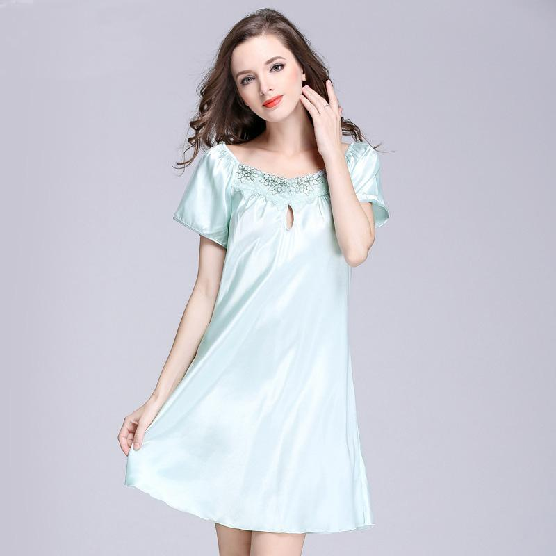 746071e87c Nightgown short sleeve pure color sleepwear