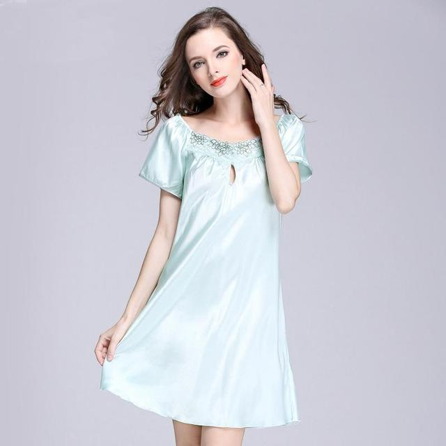 Nightgown short sleeve pure color sleepwear 573bcfd85