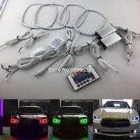 닷지 충전기 2011 2012 2013 2014 RGB LED 헤드 라이트 반지 헤일로 천사 악마 눈 원격 컨트롤러