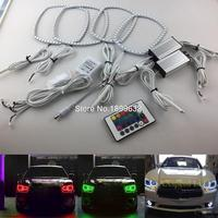 For Dodge Charger 2011 2012 2013 2014 RGB LED Headlight Rings Halo Angel Demon Eyes With