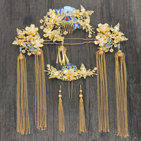 bridal headdress Chinese phoenix crown pin set new show grain and dragon phoenix wedding hair accessories