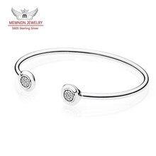 Colección otoño P Firma Abierto Bangle pulseras aptas encantos de plata de ley 925 pulsera de Plata fina Memnon joyería YSZ037