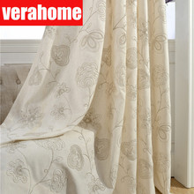 European Luxury curtains linen  for living room bedroom embroidery blackout floral curtain windows treatmentdrapes home decor