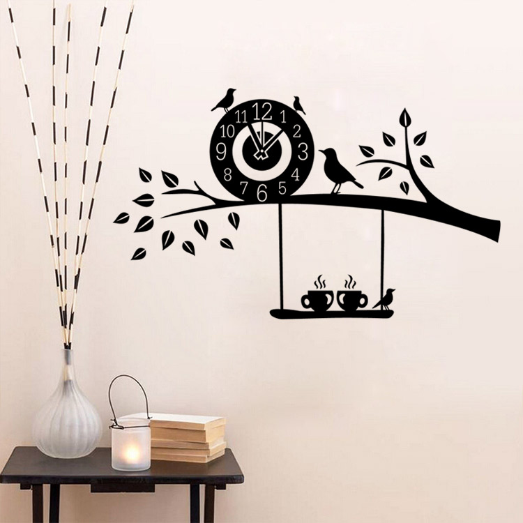 Free Shipping Diy Art Decal Decoration Creative Bird Coffee Clock Wall Stickers Home Decor Wallpaper For Living Room In From Garden