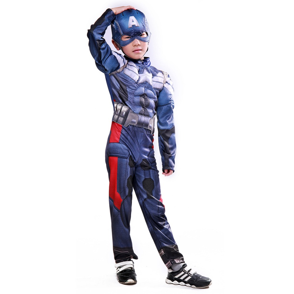 The Avengers Captain America Costume Civil War Cosplay Kids Muscle Superhero Halloween Party Costume Jumpsuit Boy