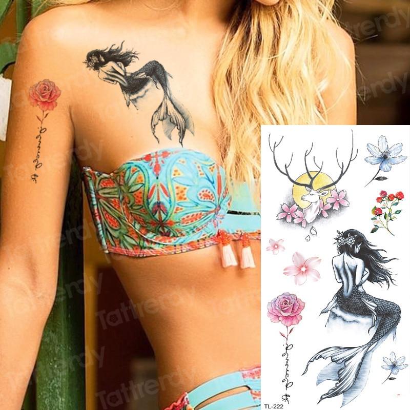 Tattoo Fish Mermaid Temporary Tattoos Custom Sexy Tattoo For Women Sea Tattoo Sticker Children Tatoo Forest Moon And Deer Decal