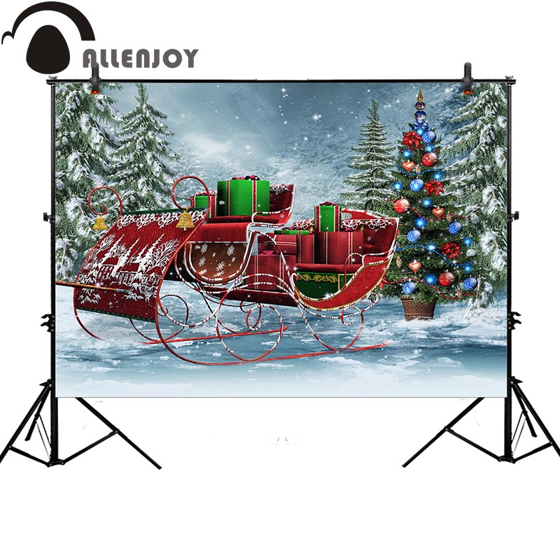 Allenjoy background for photo studio christmas tree snow gift carriage backdrop for kids photocall customize photobooth christmas background pictures vinyl tree fireplace with gift balls child photocall new year decoration photo studio backdrop