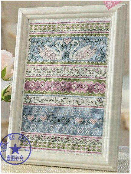 FREE Delivery Hot Selling Top Quality Counted Cross Stitch Kit Swan Love, The Greatest Gift Of All Is Love