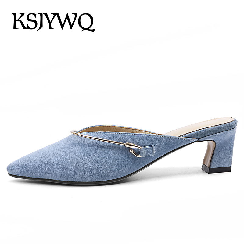 KSJYWQ Genuine Leather Blue Women Mules Pointed-toe Summer Style Slippers 5.5 CM Chunky Heels Sexy Woman Pumps Box packing 18227 ksjywq genuine leather flowers women sandals sexy exposed toe white shoes summer style clip toe shoes woman box packing a2571