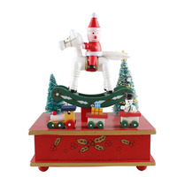 New Arrival Wooden Merry Go Round Santa Claus Wood Music Box For Kids Christmas Gift Toy