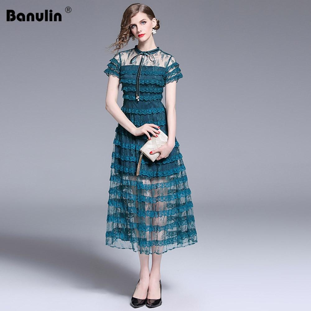 Banulin Luxury Runway Designer Dress 2019 Summer Women Long See-Through Bow Lace Patchwork Cascading Ruffles Vintage Midi