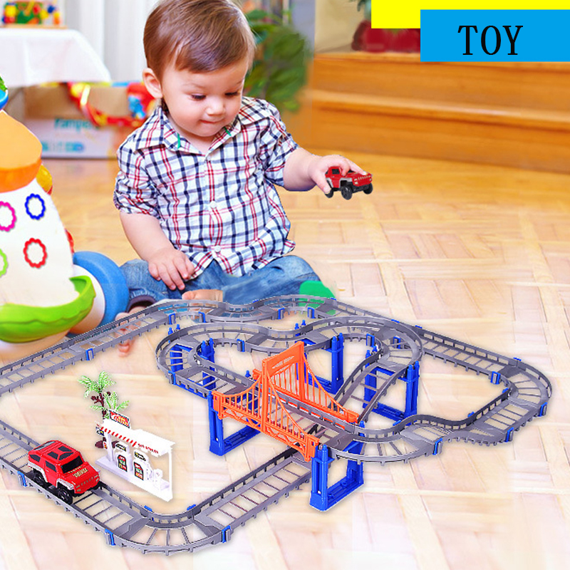 Big Children Birthday Gift toys electric Thomas rail car kids train track model slot toy baby racing car double orbit car