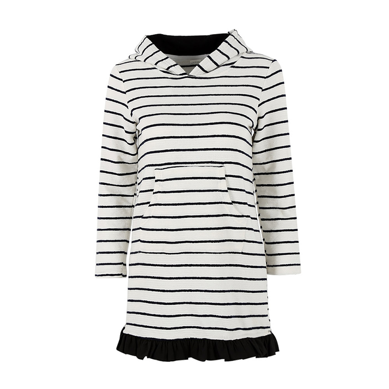 Модная хлопковая детская одежда для девочек Vestidos полосатый длинный рукав по колено с капюшоном платье vestidos