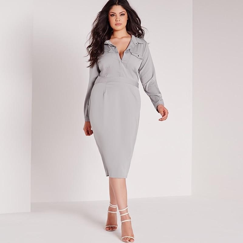 Work Dress Long Sleeve Bodycon 6xl Women Plus Size Clothing 4xl 5xl