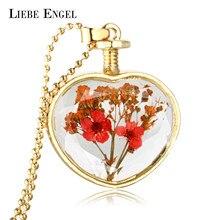 LIEBE ENGEL 10 Color 2017 New Arrival Gold Color Glass Pendant Dried Flower Pendant Long Chain Necklace for Women Wholesale