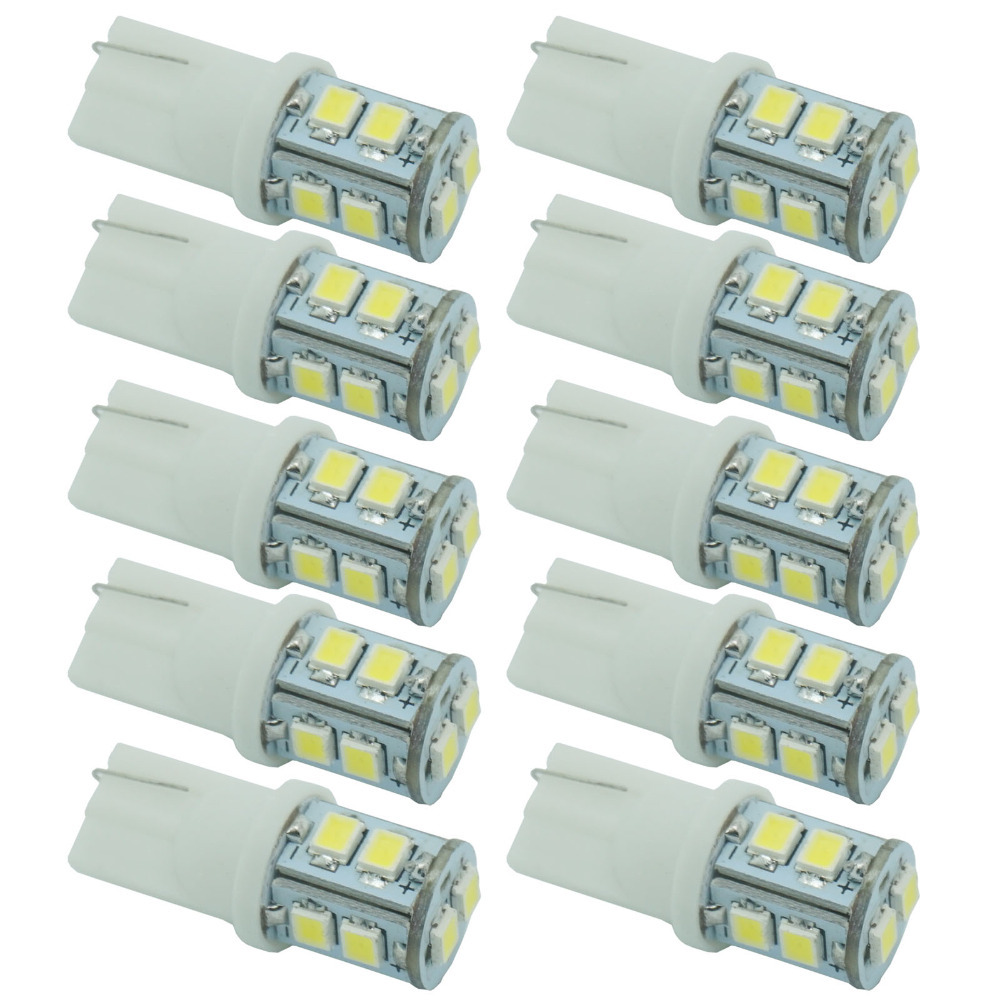 CQD-Light 10pcs 12V 3528 10 SMD T10 W5W 501 LED Car Auto Sidelight Bulb White Parking License Plate Light cawanerl car canbus led package kit 2835 smd white interior dome map cargo license plate light for audi tt tts 8j 2007 2012