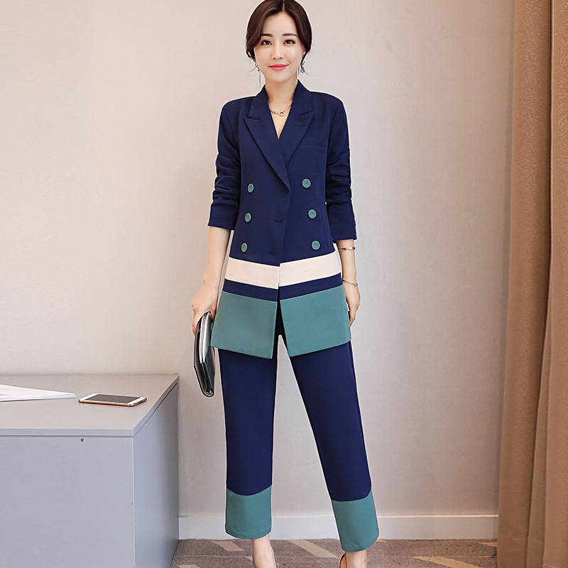 2018 Korean Style Office Work Wear striped Pant Suits 2 Piece Set Women Double-breasted Blazer And Ankle-length Wide leg pants