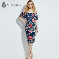 Vintacy 2017 Women Summer Blue Party Dress Floral Office Vacation Dresses Backless Casual Slash Neck Women