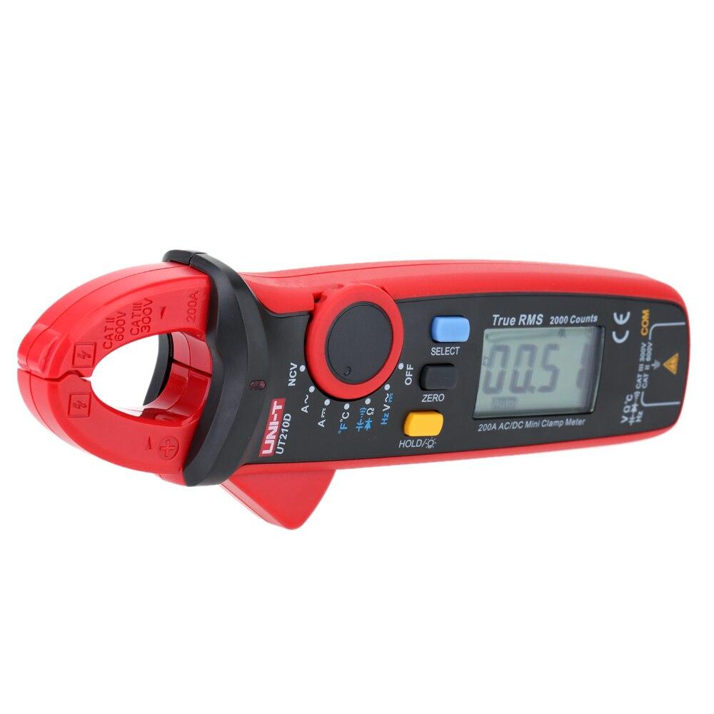 UNI T UT210D Mini Digital Clamp Multimeter 200A Auto Range AC/DC Voltmeter Amperemeter Widerstand Kapazität C/F Temperatur tester - 2